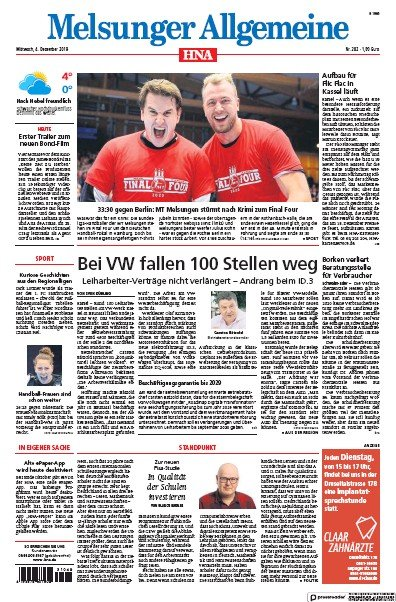 Front page of HNA Melsunger Allgemeine newspaper from Germany