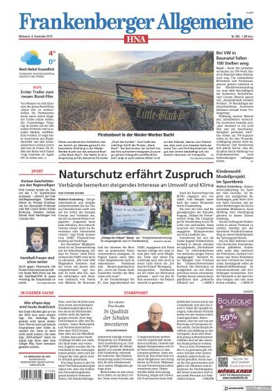Front page of HNA Frankenberger Allgemeine newspaper from Germany