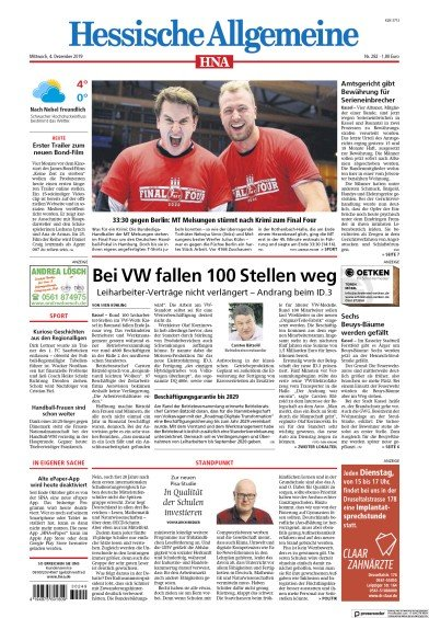 Front page of HNA Kassel-Nord newspaper from Germany