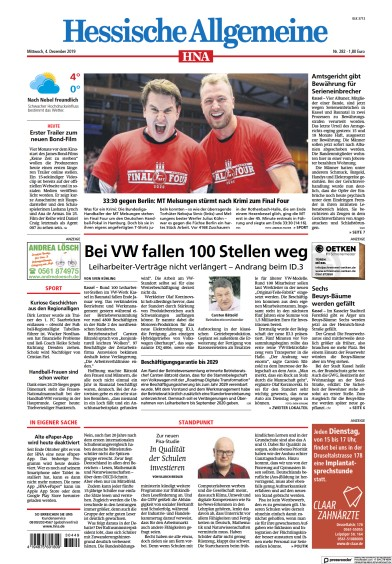Front page of HNA Kassel-Ost newspaper from Germany