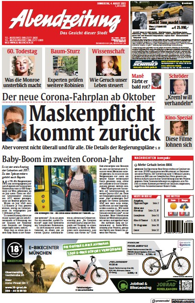 Front page of Abendzeitung Muenchen newspaper from Germany
