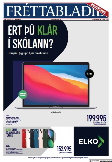 Front page of Frettabladid newspaper from Iceland