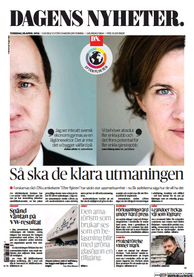 Front page of Dagens Nyheter newspaper from Sweden
