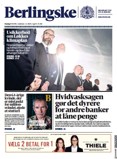 Front page of Berlingske Tidende newspaper from Denmark