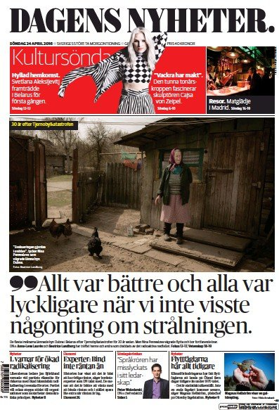 Front page of Dagens Nyheter Weekend newspaper from Sweden