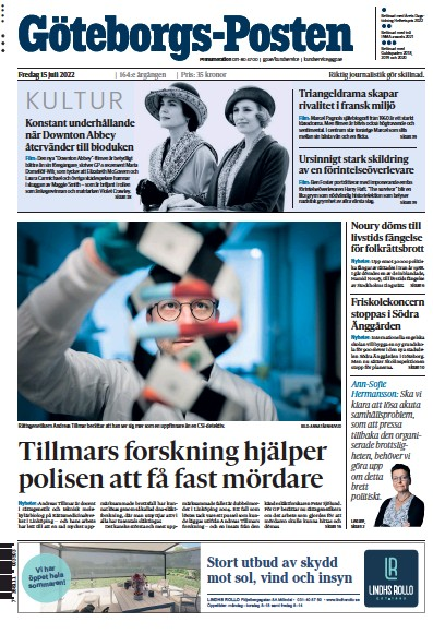Front page of Goteborgs-Posten newspaper from Sweden