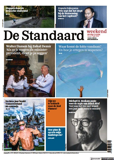 Front page of De Standaard newspaper from Belgium