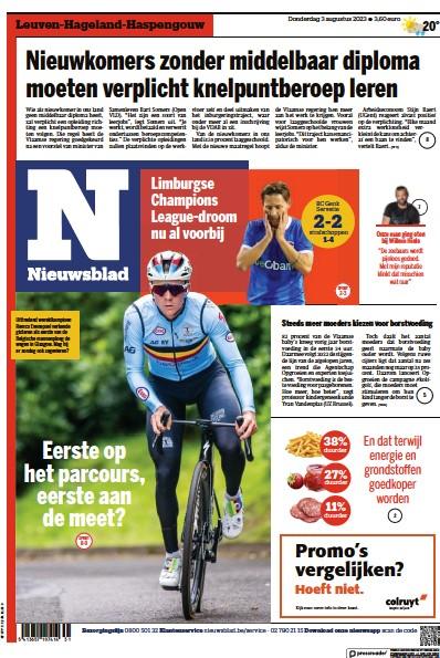 Front page of Het Nieuwsblad newspaper from Belgium