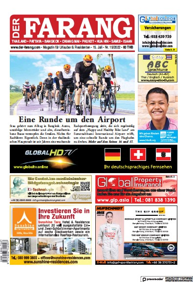 Front page of Der Farang newspaper from Thailand