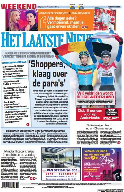 Front page of Het Laatste Nieuws newspaper from Belgium