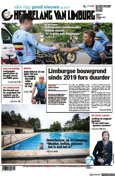 Front page of Het Belang Van Limburg newspaper from Belgium