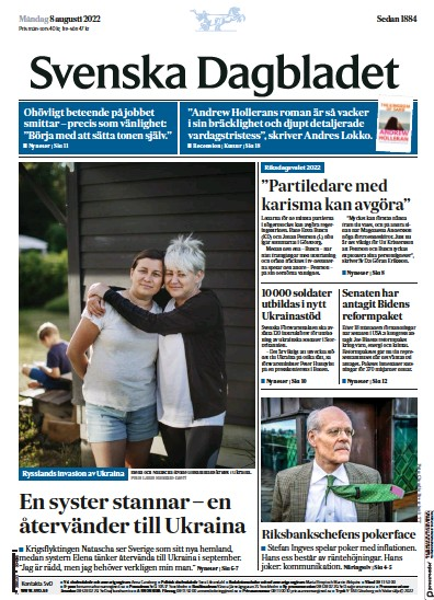 Front page of Svenska Dagbladet newspaper from Sweden