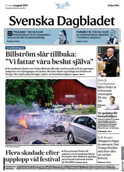 Front page of Svenska Dagbladet newspaper from Sweden