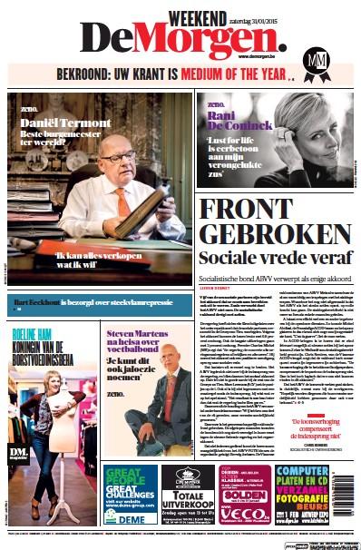 Front page of De Morgen newspaper from Belgium