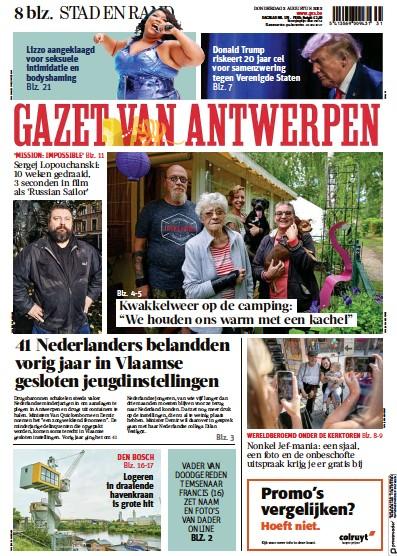 Front page of Gazet Van Antwerpen Metropool Stad newspaper from Belgium