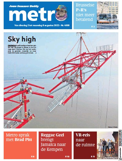 Front page of Metro (Dutch Edition) newspaper from Belgium
