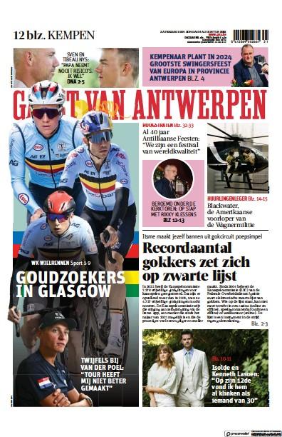 Front page of Gazet Van Antwerpen Kempen newspaper from Belgium