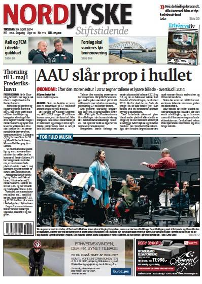 Front page of Nordjyske Stiftstidende newspaper from Denmark