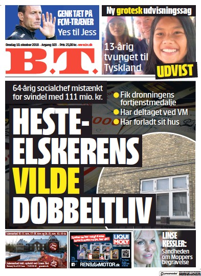 Front page of BT newspaper from Denmark