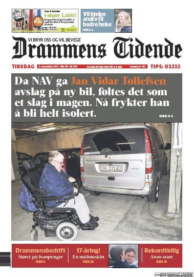 Front page of Drammens Tidende newspaper from Norway