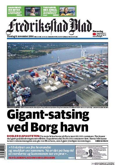 Front page of Fredriksstad Blad newspaper from Norway