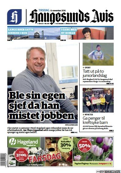 Front page of Haugesunds Avis newspaper from Norway