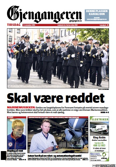 Front page of Gjengangeren newspaper from Norway