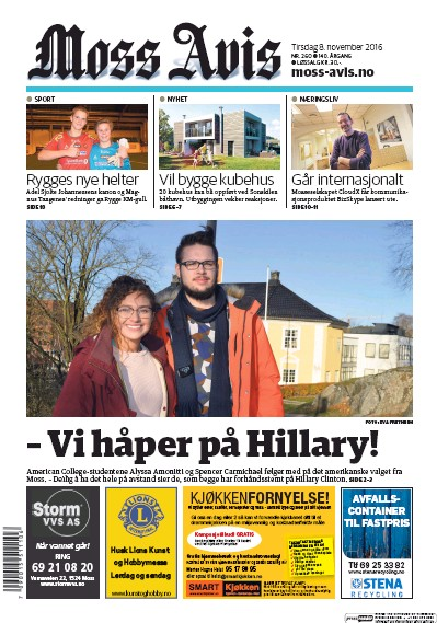 Front page of Moss Avis newspaper from Norway
