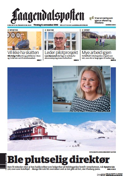 Front page of Laagendalsposten newspaper from Norway