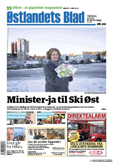 Front page of Ostlandets Blad newspaper from Norway