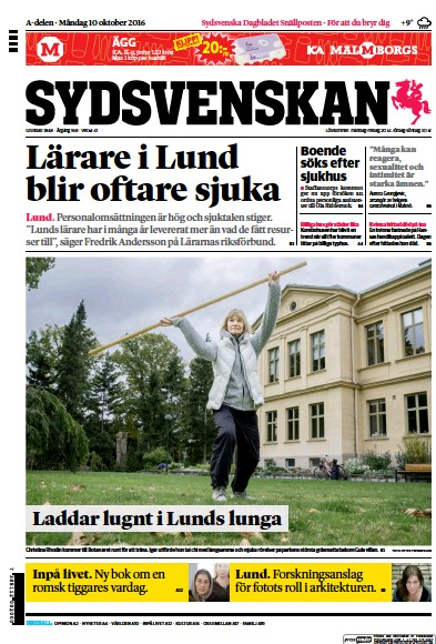 Front page of Sydsvenskan newspaper from Sweden