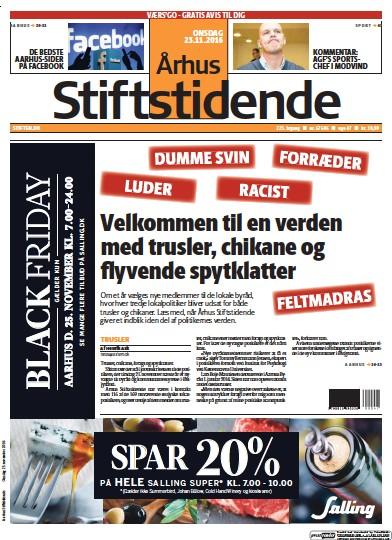 Front page of Arhus Stiftstidende newspaper from Denmark