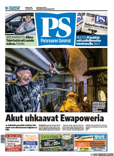 Front page of Pietarsaaren Sanomat newspaper from Finland
