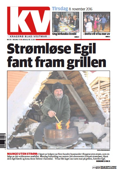 Front page of Kragero Blad Vestmar newspaper from Norway