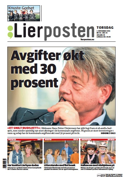 Front page of Lierposten newspaper from Norway