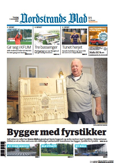 Front page of Nordstrands Blad newspaper from Norway