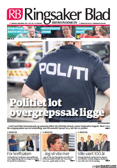 Front page of Ringsaker Blad newspaper from Norway