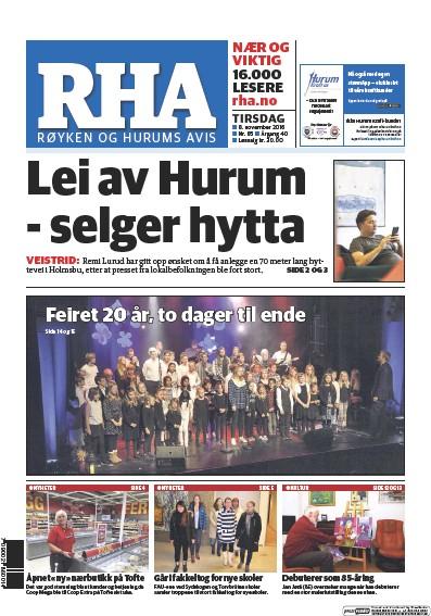 Front page of Royken og Hurums Avis newspaper from Norway