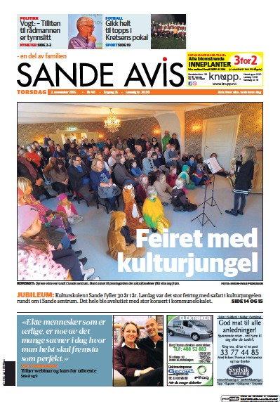 Front page of Sande Avis newspaper from Norway