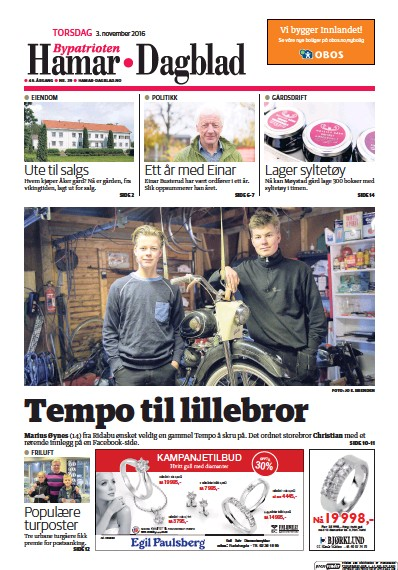 Front page of Hamar Dagblad newspaper from Norway