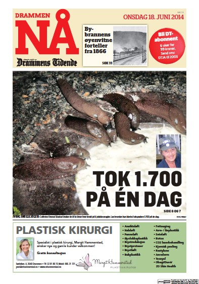 Front page of DT Drammen newspaper from Norway