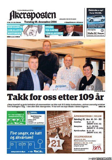Front page of Akersposten newspaper from Norway