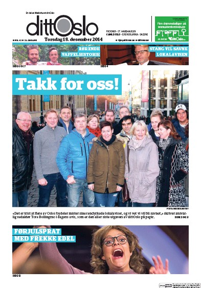 Front page of Ostkantavisa Gamle Oslo newspaper from Norway