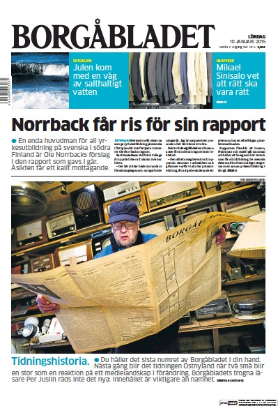Front page of Borgabladet newspaper from Finland