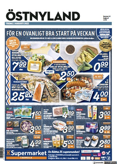 Front page of Ostra Nyland newspaper from Finland