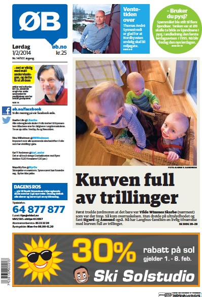 Front page of Lordagsutgave newspaper from Norway