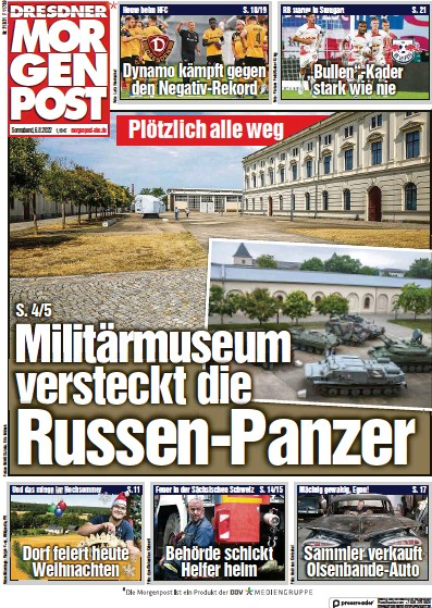 Front page of Dresdner Morgenpost newspaper from Germany
