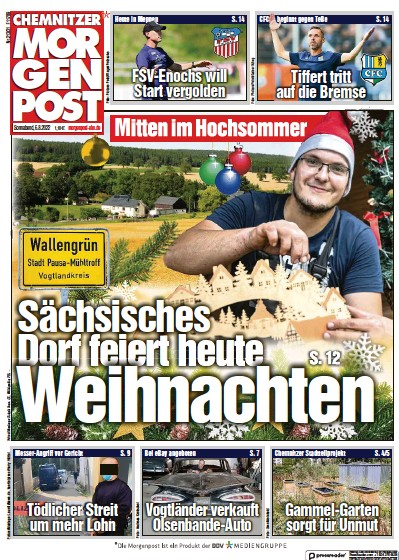 Front page of Chemnitzer Morgenpost newspaper from Germany