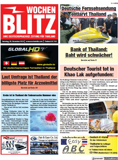Front page of Wochen Blitz newspaper from Thailand