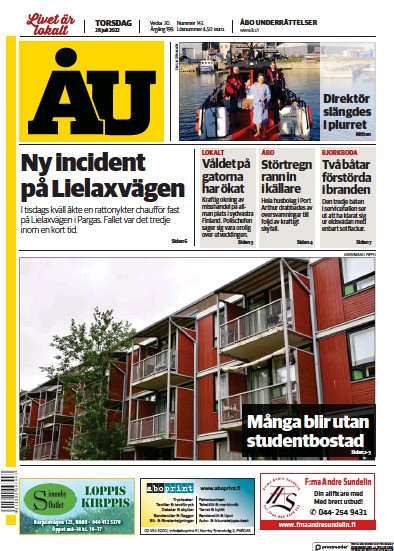 Front page of Abo Underrattelser newspaper from Finland